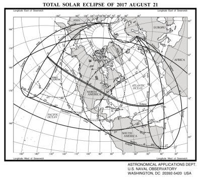 Path of the 2017 Total Solar Eclipse. Image: USNO [http://aa.usno.navy.mil/data/docs/Eclipse2017.php]