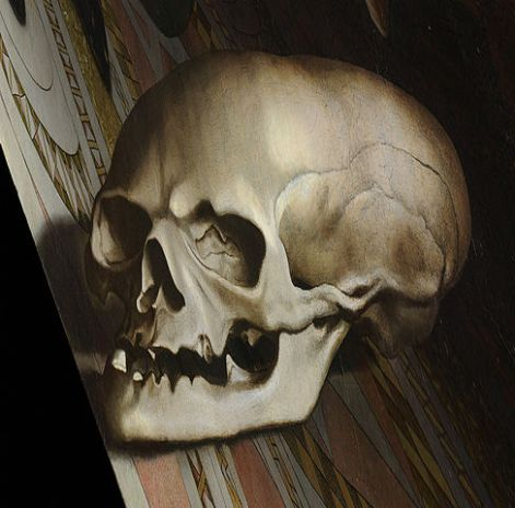 A higher-resolution and more accurate depiction of the anamorphic skull in The Ambassadors. https://commons.wikimedia.org/wiki/File:Holbein_Skull.jpg