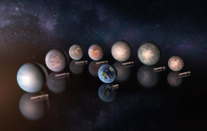 Artist's impressions of the TRAPPIST-1 planetary system